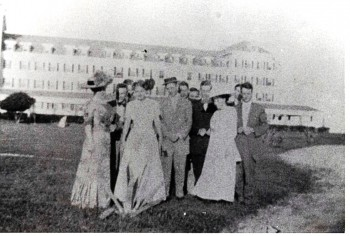 Group in front of Continental Hotel