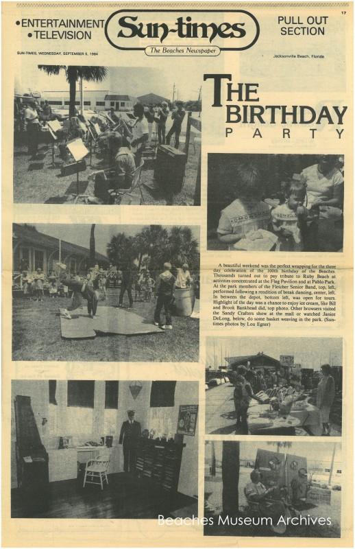 Centennial article, Sun-Times, Sept. 5 1984 -watermarked