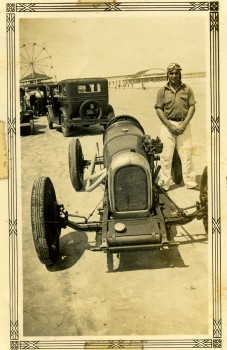 Photo of Deacon Moyers on Jacksonville Beach with automobile