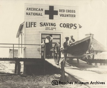 The first building for Station #1 as it looked after 1914. The name of the front of the station was changed to reflect the group's new identity as the American Red Cross Volunteer Life Saving Corps, Coast Guard Division #1.