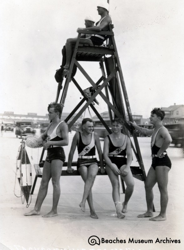 Jacksonville Beach lifeguards on duty just north of the old pier, ca. 1926.