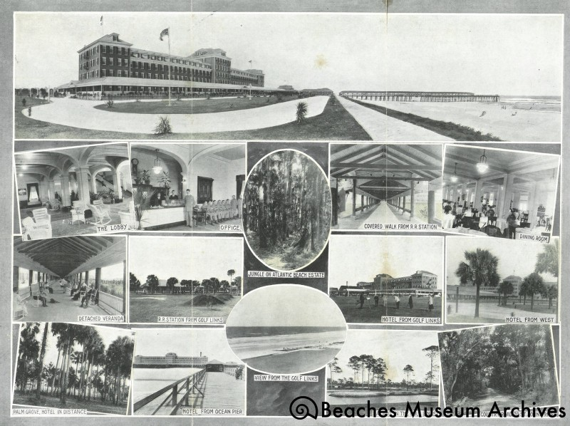 Th: Postcard depicting the Continental Hotel (after it wThe inside of a brochure for the Continental Hotel after it was renamed to the Atlantic Beach Hotel, which depicts several scenes both inside and around the hotel.