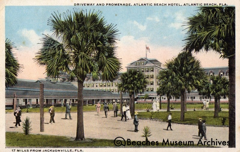 Postcard depicting the Continental Hotel (after it was renamed to the Atlantic Beach Hotel) as viewed from the railway.